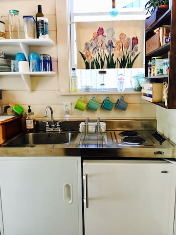 Your own camp kitchen with mini-fridge, stove & sink...