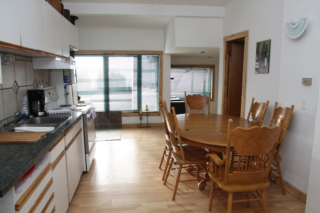 Fully equipped kitchen comfortably sits 6.