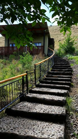 Staircase to chalet from parking