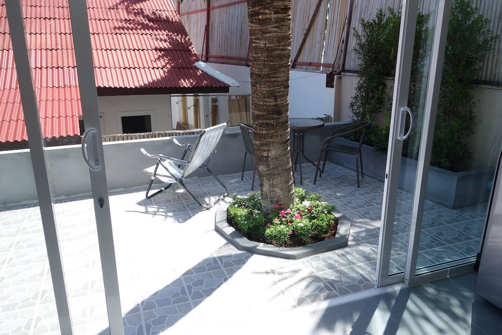 Terrace, just a few metres from the beach