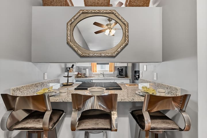 Kitchen: Drawers hold cooking utensil sets, cutting-board, measuring utensils, etc.