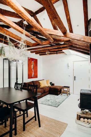 Double room in design attic