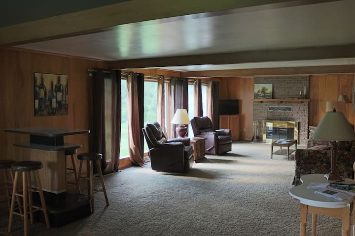 Spacious living room complete with fireplace, large windows, and party bar.