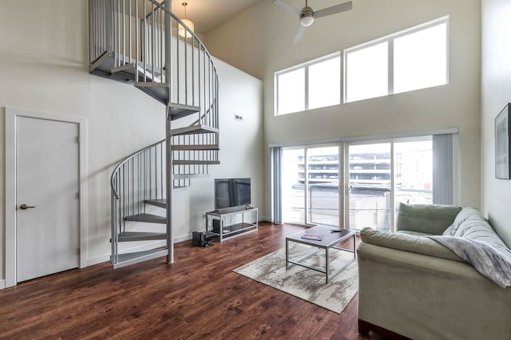 Check out this Loft + Great Views From Balcony