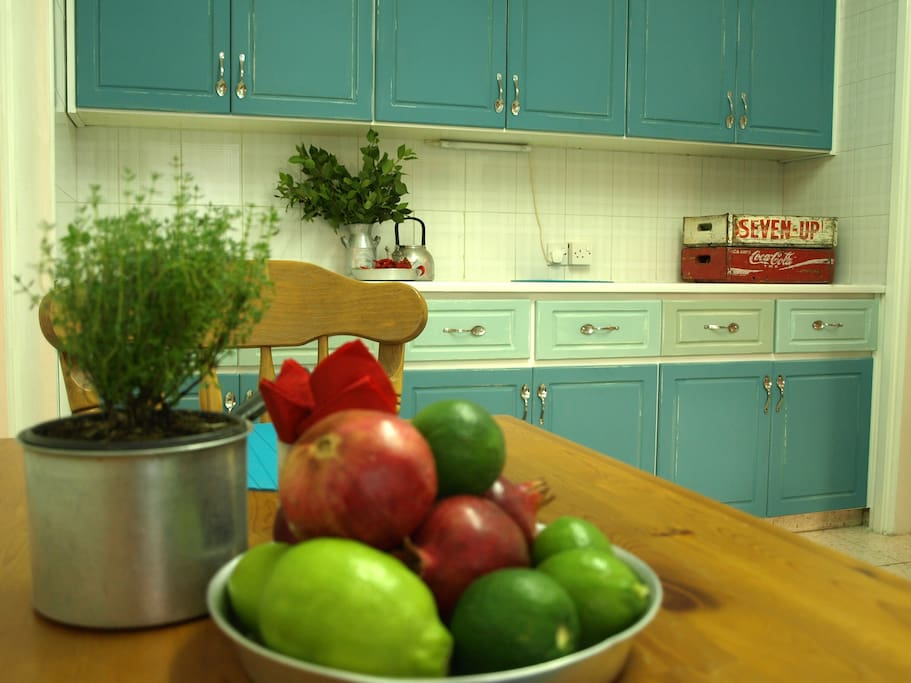 colourful full equipped kitchen