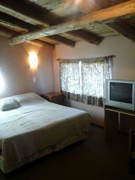 Habitacion amplia, alfombrada y con vista al jardin. Tiene placards con mucho espacio y TV. El sommier matrimonial puede convertirse en dos camas singles.