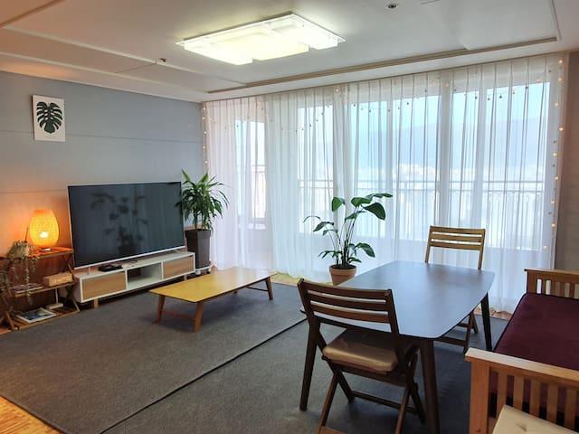 춘천 cozy 시내중심 3룸 38평 남춘천역5분,터미널5분,이마트5분,넷플릭스,골프여행