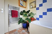 Bathroom complete with lush plants