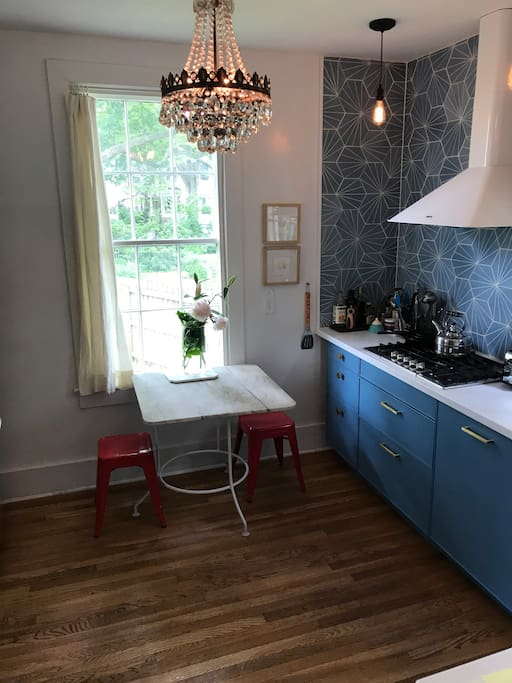 Kitchen with antique marble table