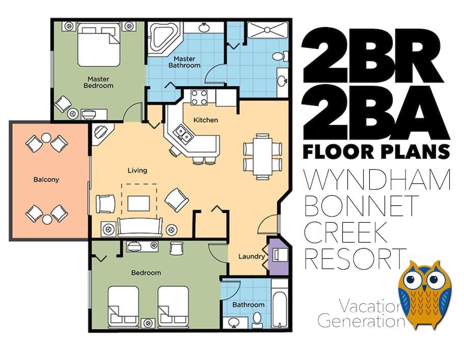 Floor plans and layout for 2BR/2BA Wyndham Bonnet Creek Resort condos