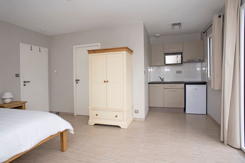 25 square meters studio with fully equipped kitchenette and en-suite shower room