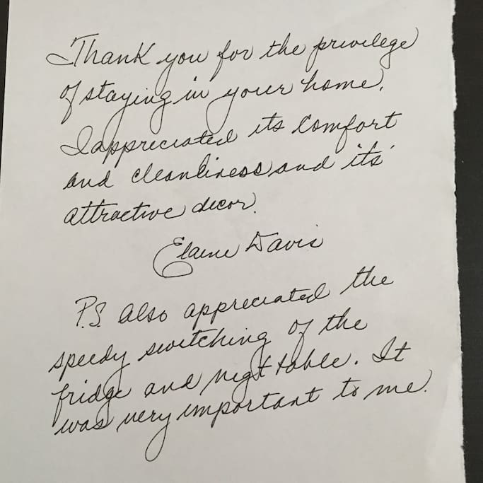 Handwritten review from our guest.