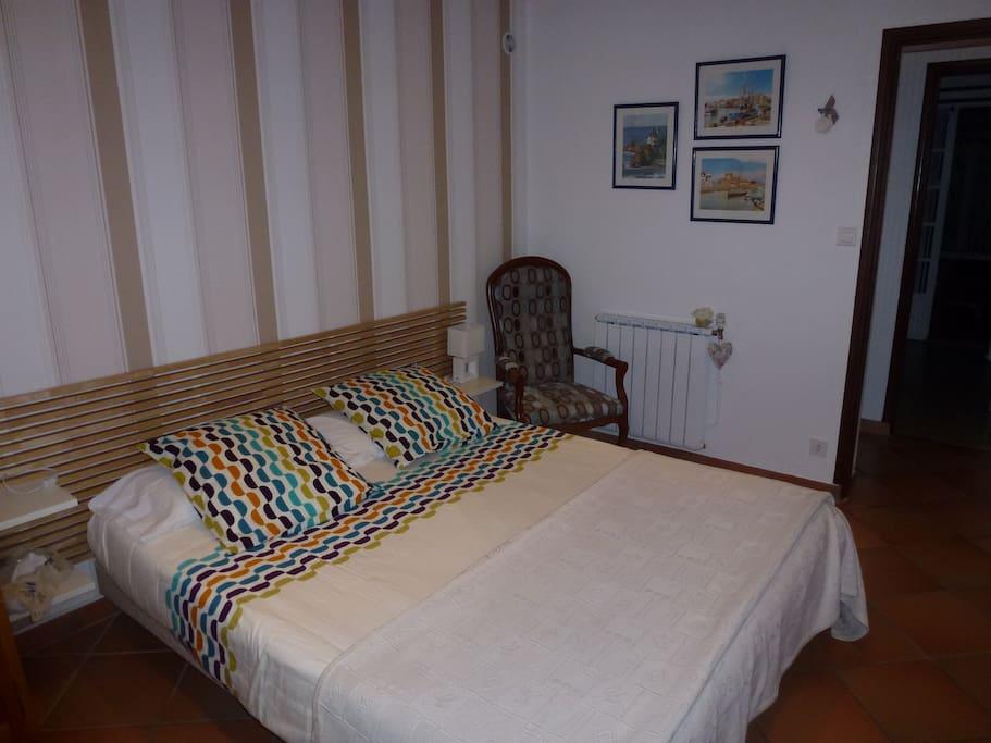 chambre bleue donnant directement sur le jardin chambres d 39 h tes louer anglet aquitaine. Black Bedroom Furniture Sets. Home Design Ideas