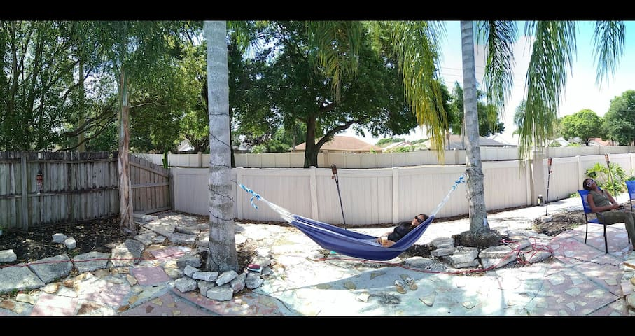peaceful hammock to chill and have a cocktail and read magazines..