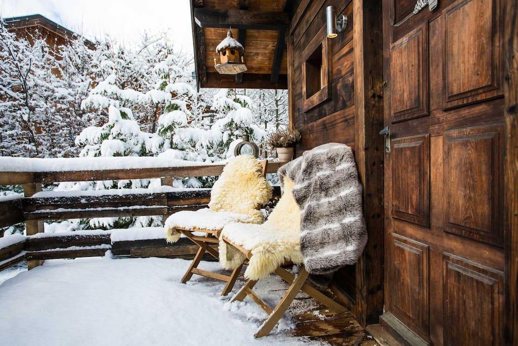 Mazot terrace in winter
