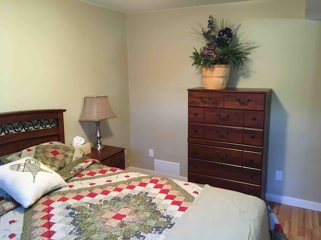 Walkout basement bedroom, queen bed