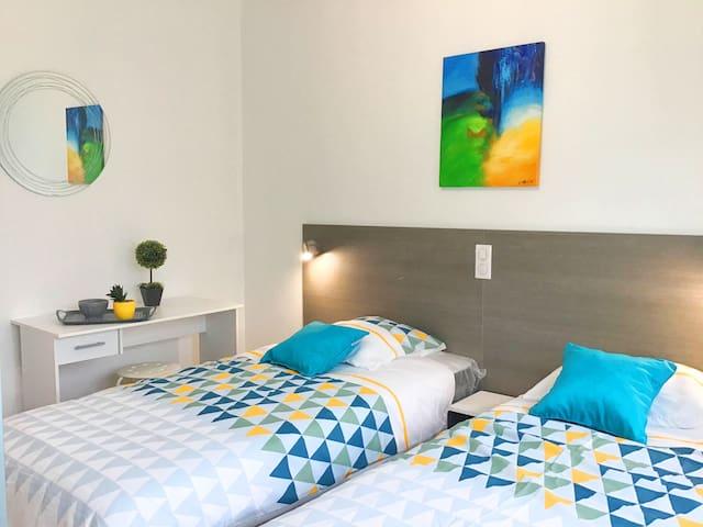 Chambre twin climatisée avec télévision à écran plat et wifi gratuit//Air-conditioned twin room with flat screen TV and free wifi