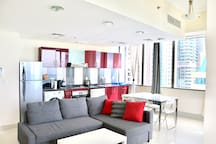 Livingroom with open kitchen