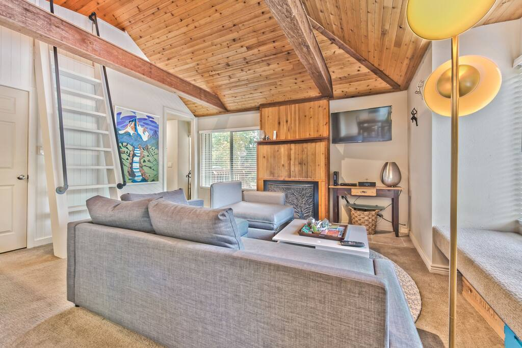 One Bedroom and Loft - Living Room with Flat Screen TV, Queen Sleeper Sofa and Twin Sleeper Chair, Loft Access
