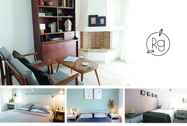 Calm & airy beach house apartment, Nikiti (3BD)