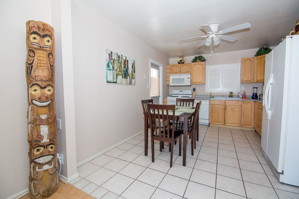The Kitchen. ceiling fans in every room.