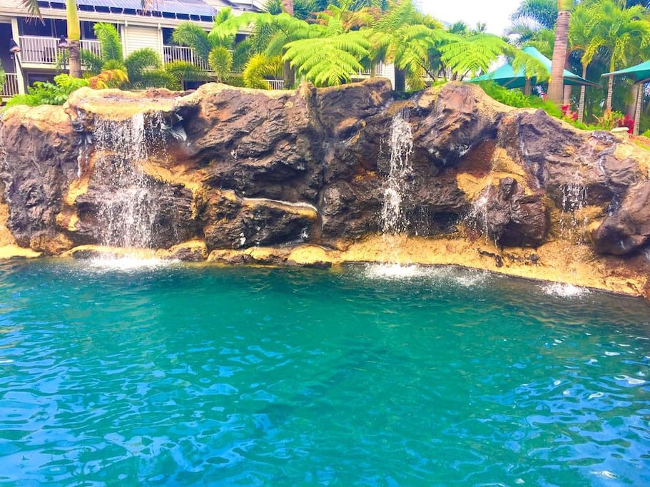 Tropical Swimming Pools with Waterfalls and Hot Tubs
