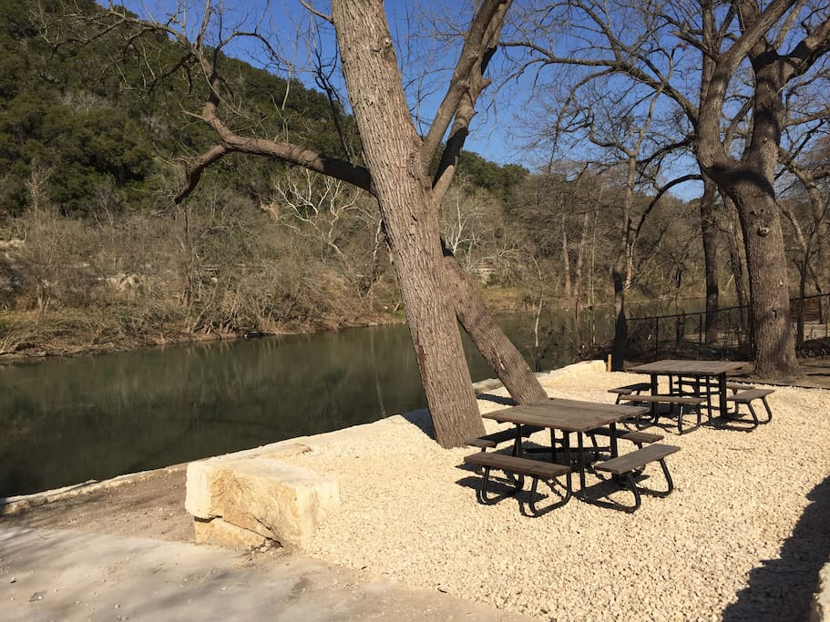 Picnic tables for guests