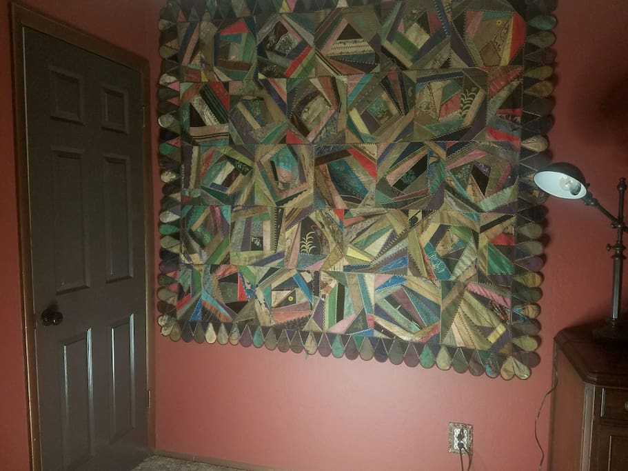 Bedroom antique crazy quilt