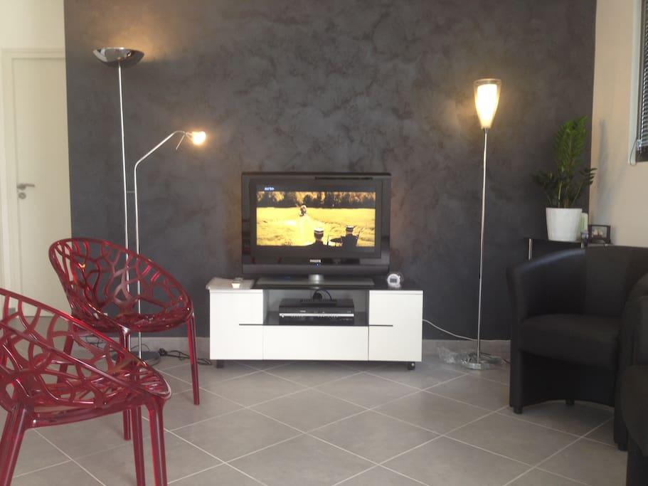 Coin salon avec écran plat, lecteur blu-ray & dvd. Accès Internet gratuit