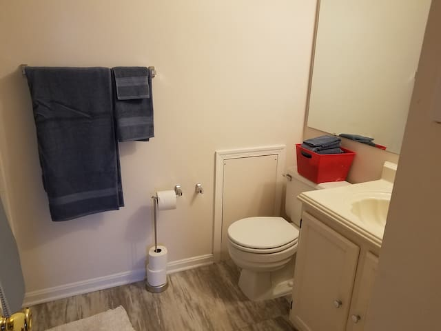 Private bathroom with full shower