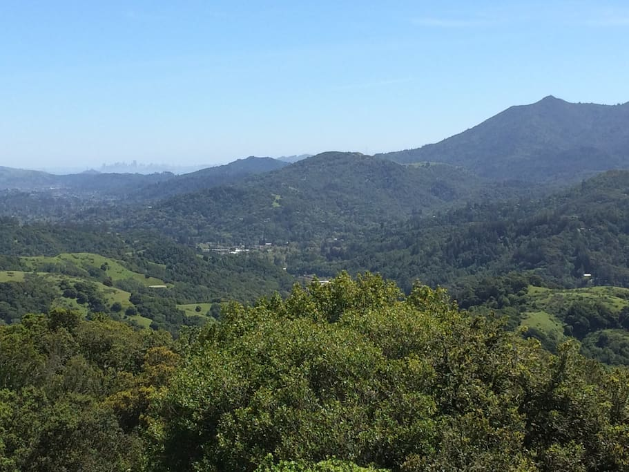 View of Mt. Tam and San Francisco from a hiking trail walking distance away in the Loma Alta Open Space Reserve