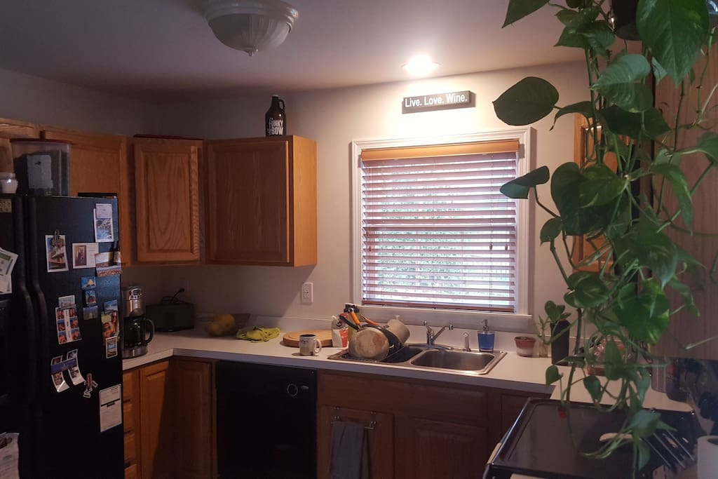 Shared Kitchen complete with pots, pans, plateware, silverware, refrigerator, dishwasher, microwave, stove etc...