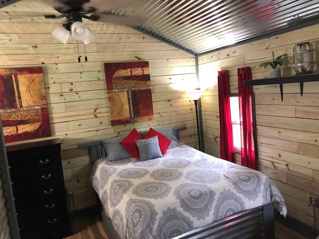 Custom Built Queen Size Bed with Rustic Decor