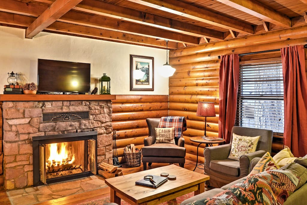 Kick back and relax in the cozy living room.