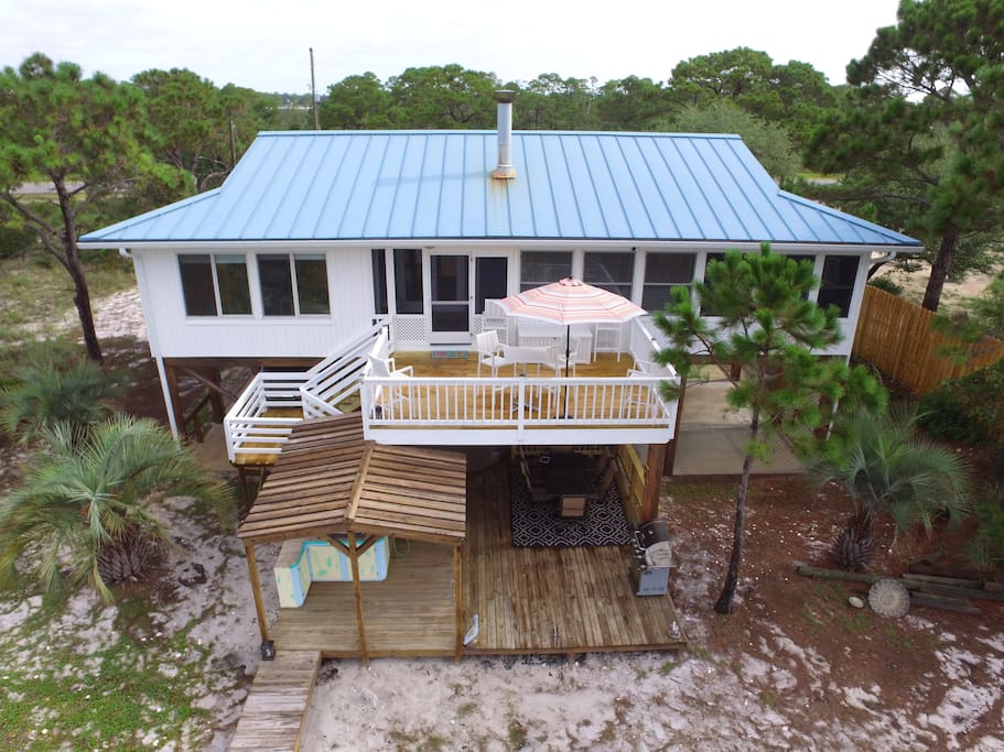 Oceanview of house and decks.