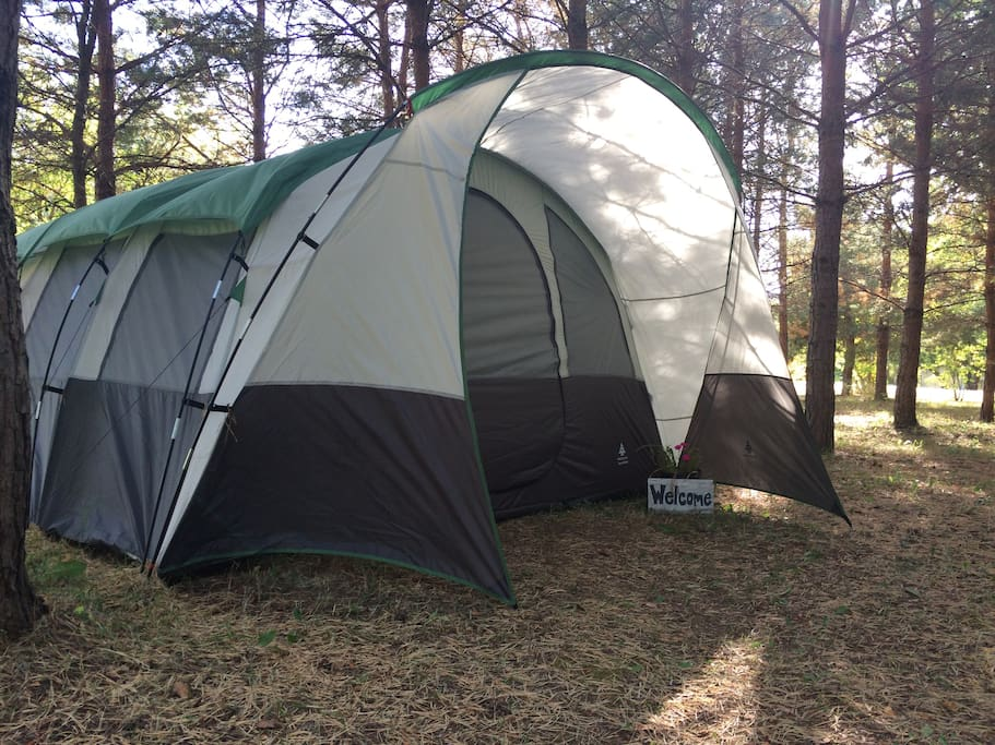 Huge 10'x14' tent - tent has separate bedroom and screened in living area.
