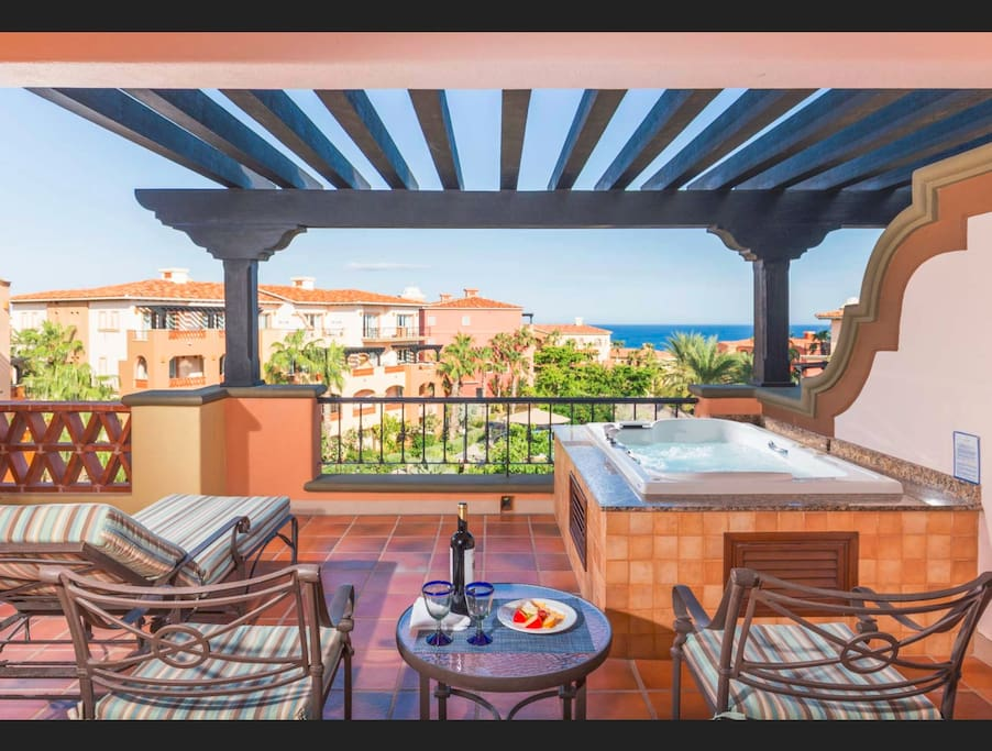 Your Private Furnished Balcony with Spa Tub