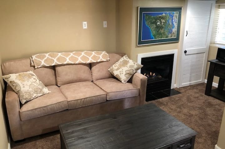 Living Room: New Queen-sized Hide-a-Bed with a plump and comfy mattress (yes, we tested it out!)  and our gas fireplace  keeps the whole place cozy when you just want to snuggle down for movies