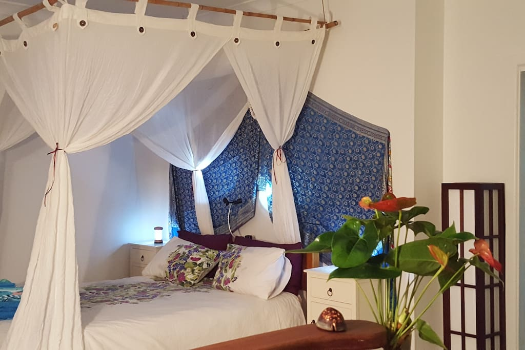 Queen Size Bed with Mosquito Net.