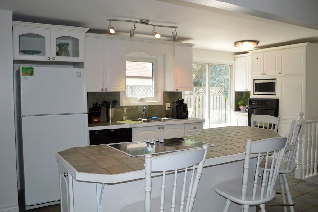 Open concept kitchen with island. Kitchen overlooks living and dining areas.