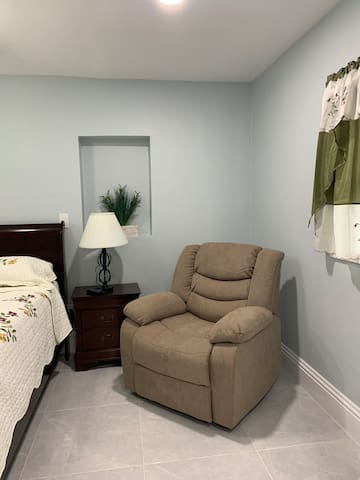 The bedroom A comfortable Sofa  Electric Power So you can watch TV  Like if you were home