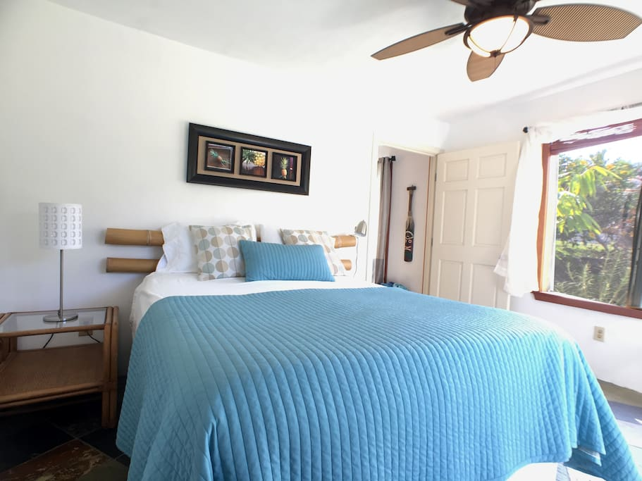 Comfy queen bed and plenty of closet space if you decide to stay a while!