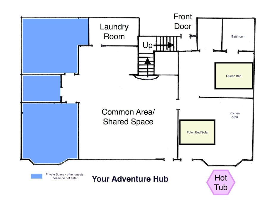 Here is a layout of Your Adventure Hub!