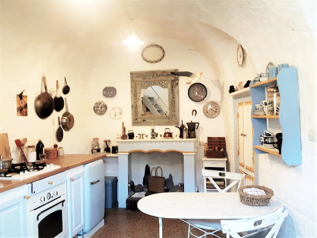 Kitchen with arched ceiling