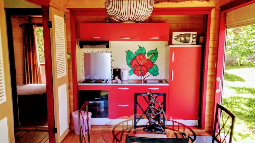 Terrasse, coin repas, kitchenette
