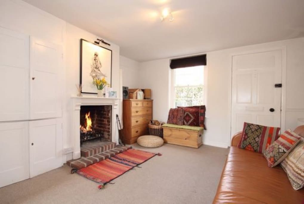 Living room with open fireplace