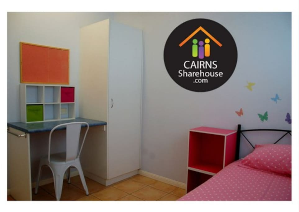 Cute private room with a desk & wardrobe
