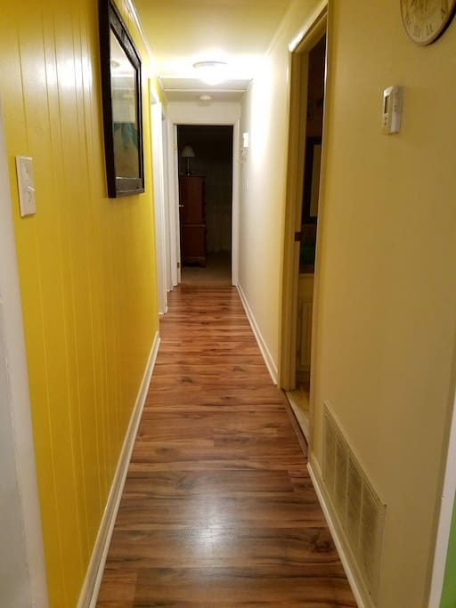 Hallway to 3 Bedrooms & 2 full Bathrooms