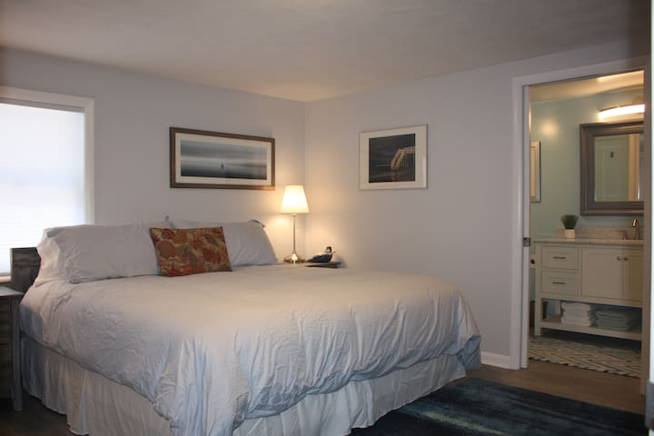 Master Suite with King Bed, flat sceen tv and newly remodeled bathroom with large vanity and tile shower