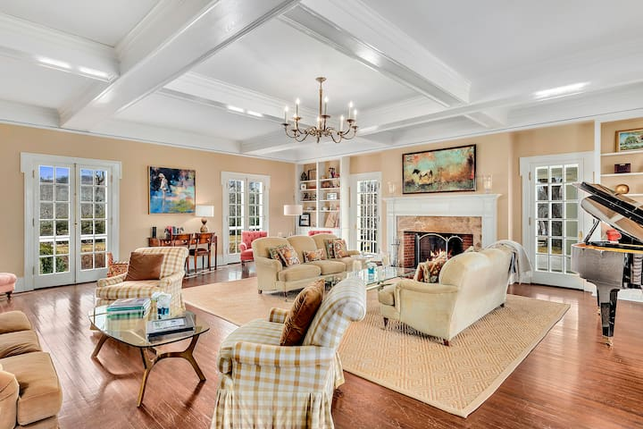 Large gathering room with walk out patio
